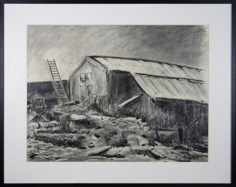 Oude schuur in de winter bij scheepshelling Hoogkerk